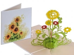 Popcards.nl Colored sunflowers sunflowers pop-up greeting card 3D card