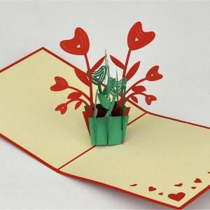Popcards.nl pop up kaart Donkergroene pot rode bloemen
