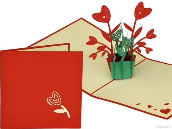 Popcards.nl pop up kaart Donkergroene pot rode bloemen