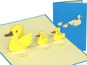 Popcards.nl pop up kaart Mother duck with little twins