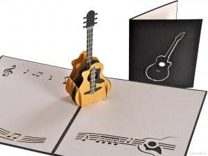 Popcards.nl pop up card acoustic guitar music live music electric guitar