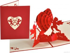 Popcards.nl pop up card Heart Cupid valentine
