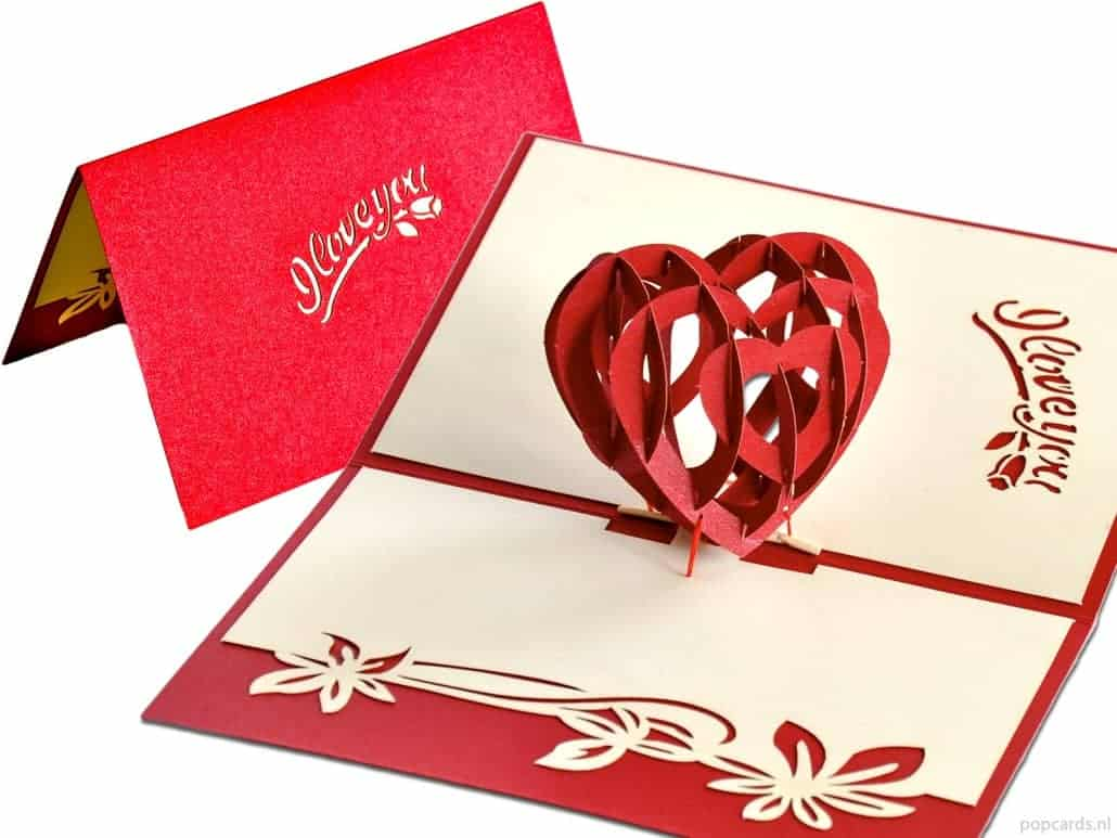 Popcards.nl pop up card cuore di San Valentino Ti amo