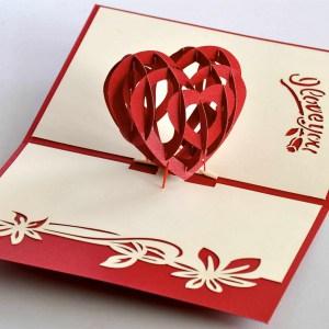 Popcards.nl pop up kaart valentijn hart I Love you