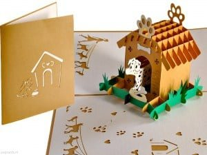 Popcards.nl pop up card Dog in dog house moving card dog