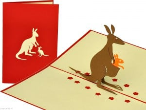Popcards.nl pop up card Kangaroo