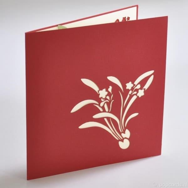 Hellgrüner Topf mit roten Blumen 2