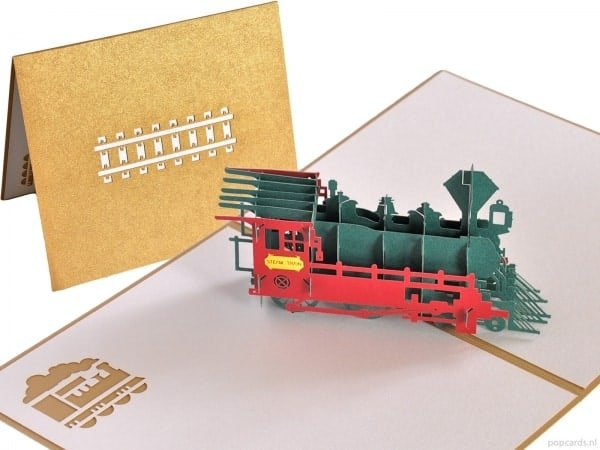 Popcards.nl pop up kaart Locomotief trein