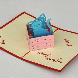 Popcards.nl pop up kaart Poezen in mandje