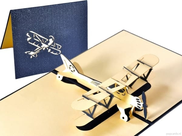Popcards.nl pop up kaart Classic airplane double decker blue