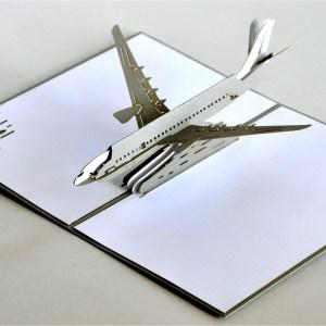 Popcards.nl pop up kaart Vliegtuig modern