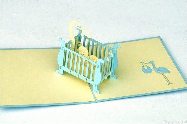 Popcards.nl pop up kaart Baby wiegje geboortekaartje blauw