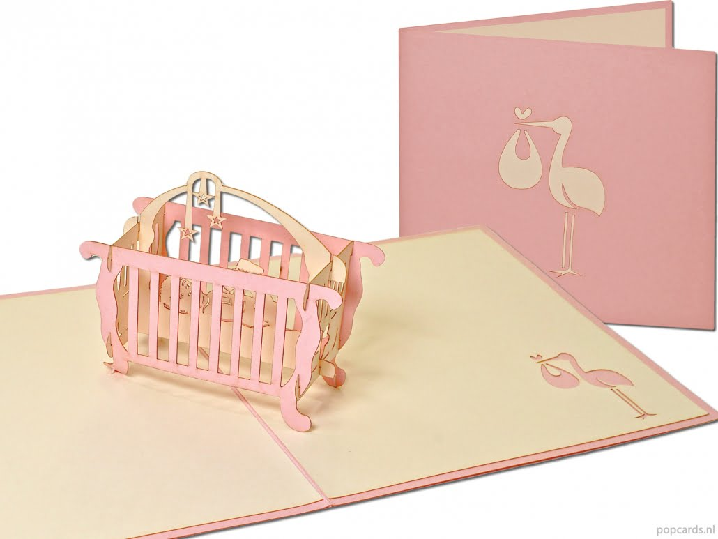 Popcards.nl pop up card Baby berceau carte de naissance rose
