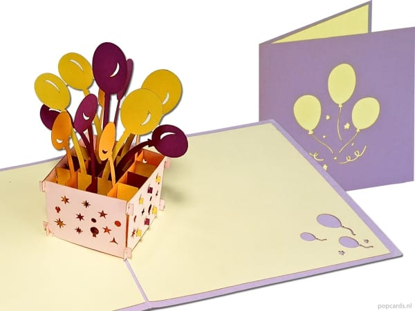Popcards.nl pop up card Balloons in a birthday box happy