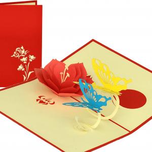 Popcards.nl pop up kaart bloem vlinders