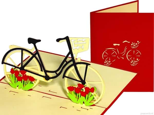 Popcards.nl pop up card vélo avec tulipes rouges carte de voeux pop up cartes cartes 3D