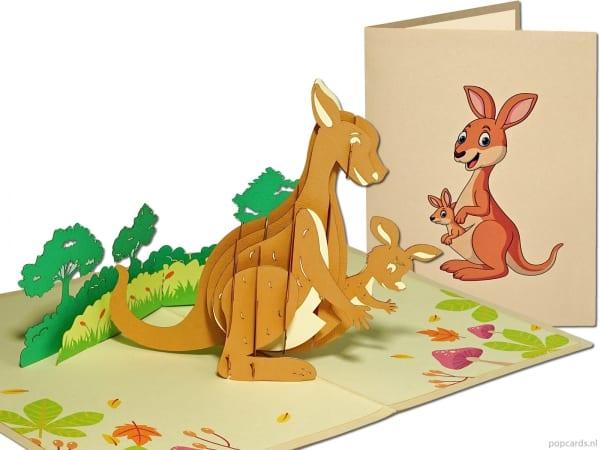 Popcards pop-up kaart wenskaart kangaroe kangeroe kangoeroe met jong geboortekaart zwanger geboorte jongen meisje geboortekaartje