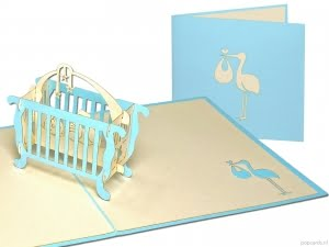 Popcards.nl pop up card Baby crib birth card blue