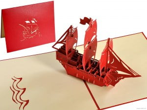 Popcards.nl pop up card sailing ship three-master sailing boat 3d card greeting card