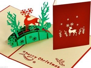 Popcards.nl pop up card Christmas card reindeer in forest Christmas cards