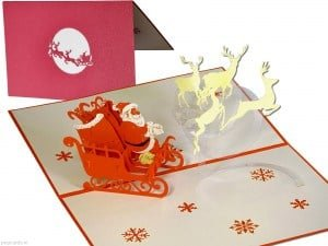 Popcards.nl pop up card Christmas card Santa Claus with sleigh and reindeer Christmas cards