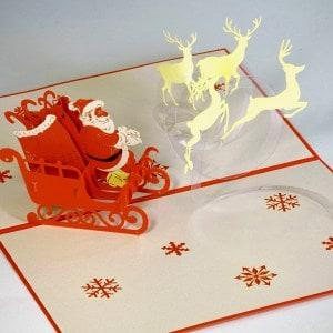 Popcards.nl pop up kaart kerstkaart kerstman met arreslee en rendieren