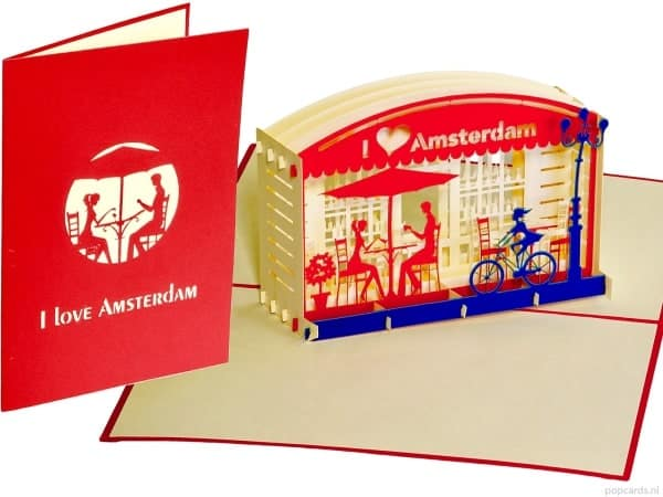 Popcards.nl pop up kaart Amsterdam terras