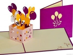 Popcards.nl pop up kaart Balloons