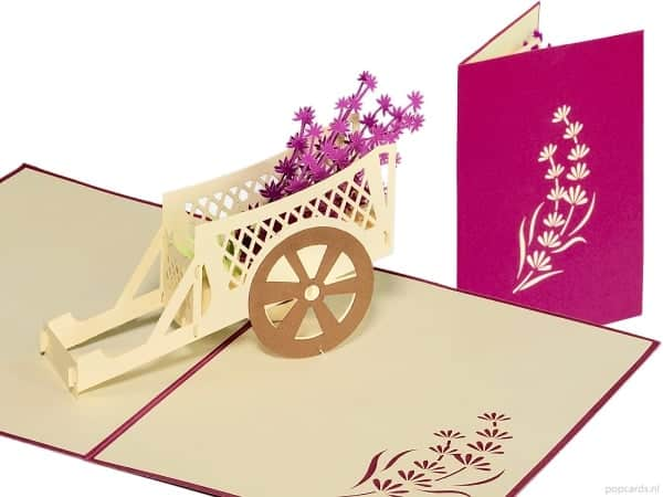 Popcards.nl pop up kaart Karretje met lavendel