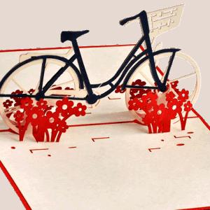 Popcards.nl pop up kaart fiets met bloemen