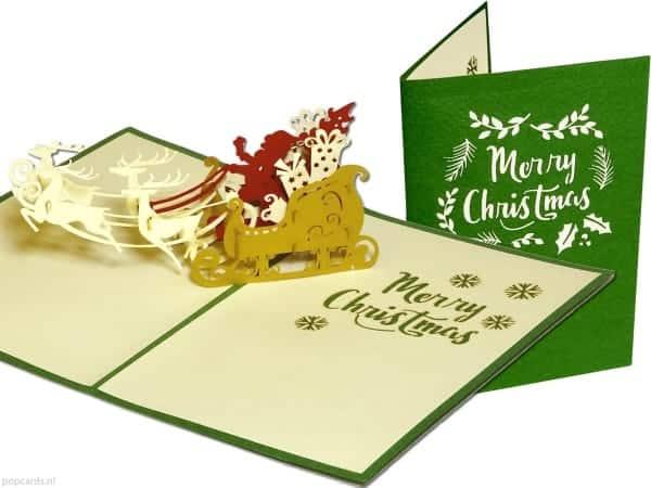 Popcards.nl pop up kaart kerstkaart kerst arreslee groen kerstkaartjes