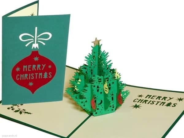 Popcards.nl pop up kaart kerstkaart kerst kerstboom groen