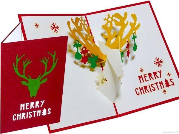 Popcards.nl pop up kaart kerstkaart rendier