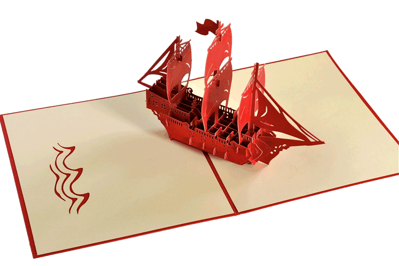 Popcards.nl pop up card sailing ship three-master birthday card