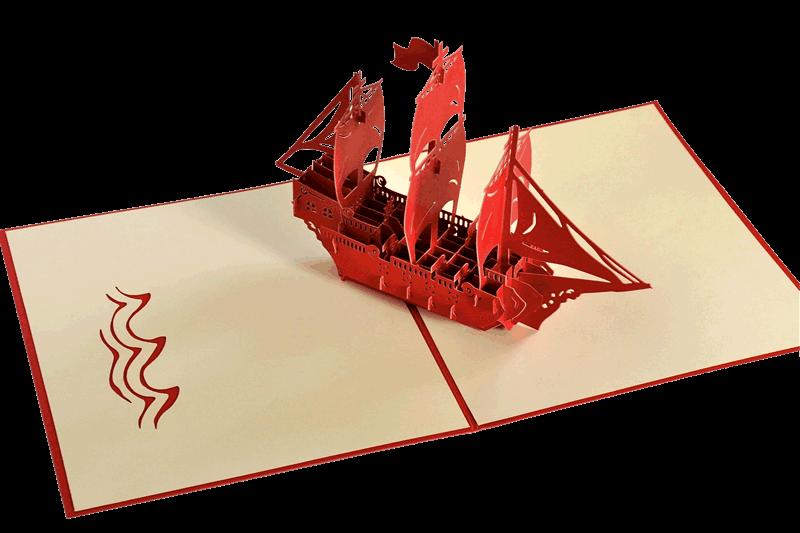 Popcards.nl pop up card velero tarjeta de cumpleaños de tres maestros