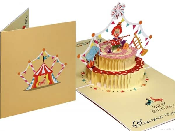 Popcards.nl Pop-up-Karte Zirkuskuchen Clown Geburtstagskarte