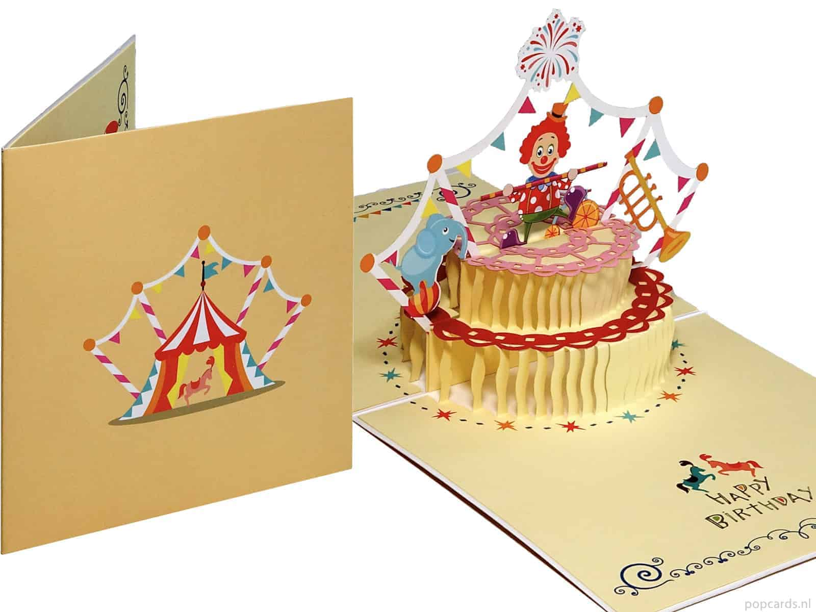 Miraculous Cheerful Colorful Cake With Clown And Elephant Greeting Card Funny Birthday Cards Online Benoljebrpdamsfinfo