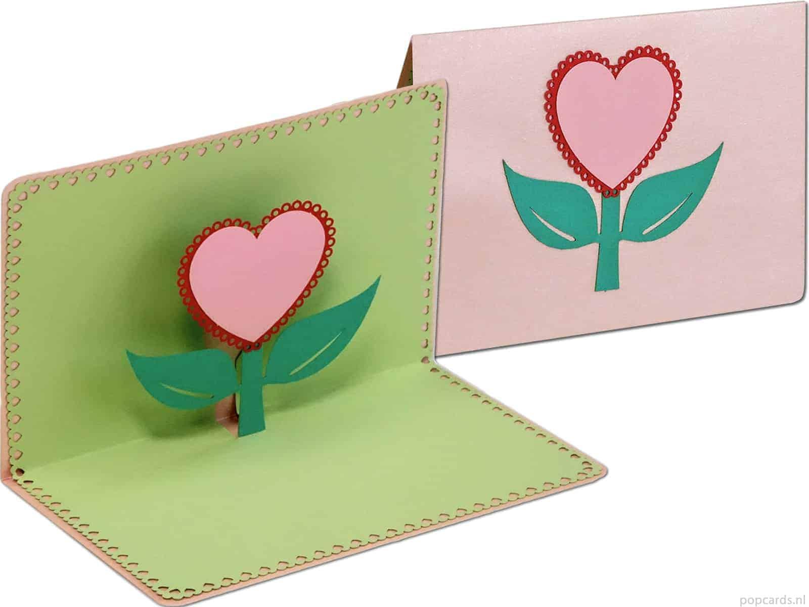 Liebeskarte süße Blumenkarte in Herzform • Popcards.nl