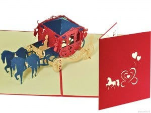 Popcards.nl pop up card wedding card romantic carriage