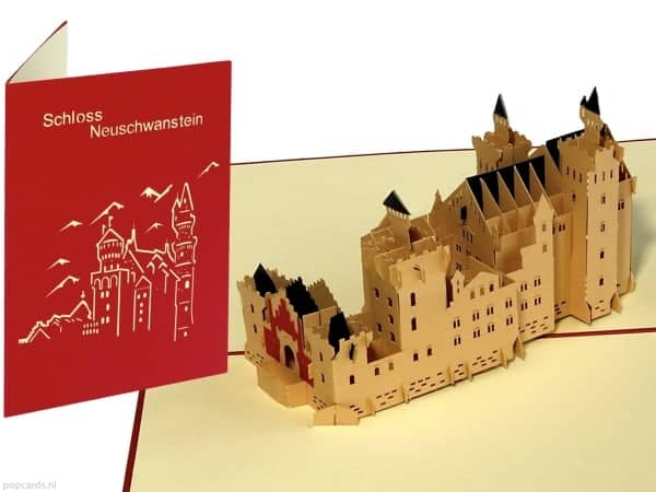 Popcards.nl pop up kaart Neuschwanstein kasteel doornroosje doornroosjekasteel