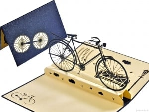 Popcards.nl pop up card Old-fashioned men's bicycle bicycle greeting card pop-up card