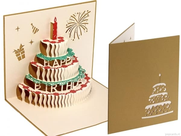 Popcards.nl pop-up card cake birthday card torta di compleanno 3d card