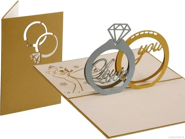 Popcards.nl pop up card Wedding rings wedding card