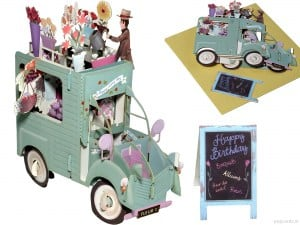 Popcards.nl pop up kaart 2CV bloemen auto