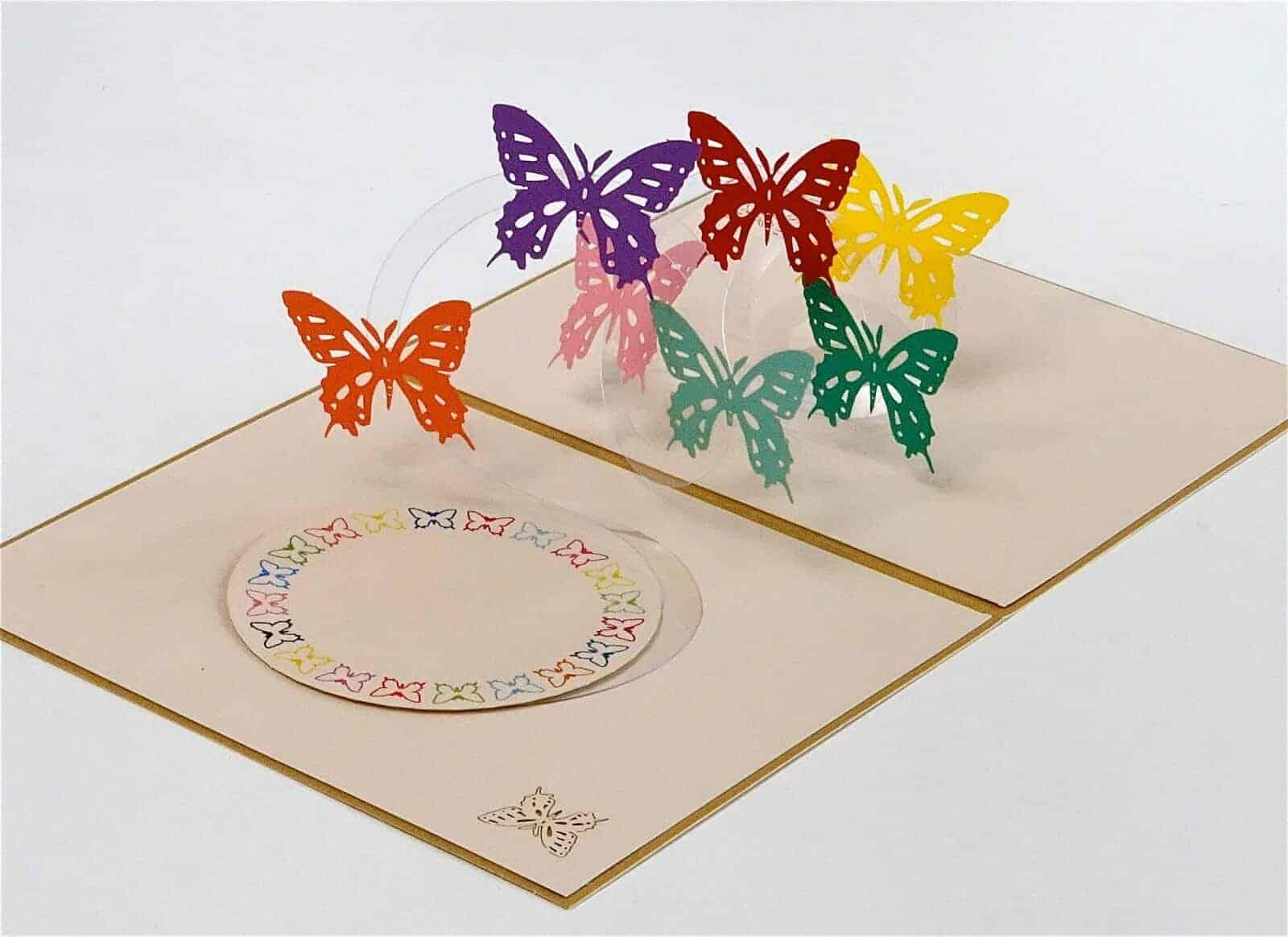 Anniversaire quelqu /'un Special-Rose Feuille Qualité Carte papillons Papillons femelles