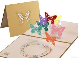 Popcards.nl pop up-kort 7 Butterflies butterfly
