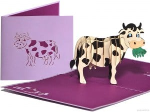 Popcards.nl pop up card grazing cow dairy cow holsteiner fries friesian cow milka