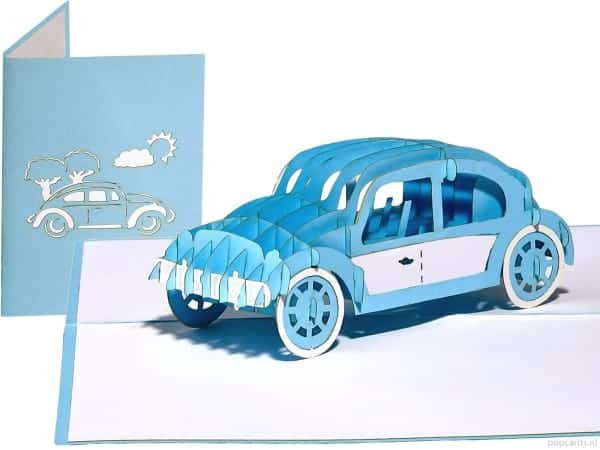 Popcards.nl pop up kaart Volkswagen Kever Beetle