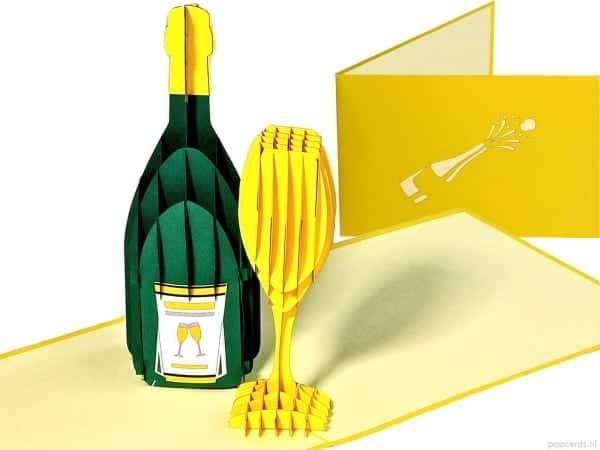Popcards.nl Champagner Champagnerflasche mit Glas Neujahr Neujahrstag