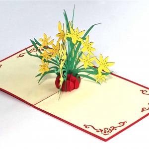 Popcards.nl pop up kaart gele bloemen